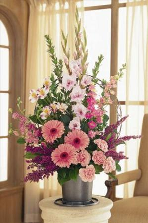Pink Funeral Basket Grace Funeral Home Flowers