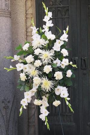 All White Spray Grace Funeral Home Flowers