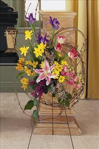 Easel Spray with Grapevine by Grace Funeral Florist - Victoria, TX