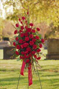 All-Red Standing Spray by Grace Funeral Florist - Victoria, TX