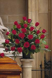 Basket with 24 Red Roses by Grace Funeral Florist - Victoria, TX